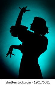 Silhouette of a young spanish flamenco dancer
