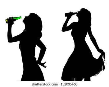 silhouette of young woman with beer