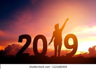 Silhouette young woman Happy for 2019 new year