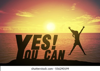 Silhouette Young Woman Jumping And Raising Up Her Hand About Happy Concept  On YES YOU CAN