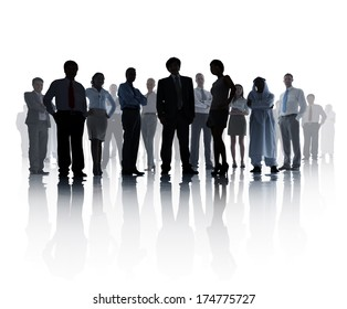 Silhouetted Business Team