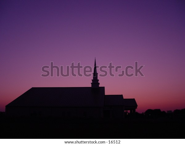 Silhouetted church