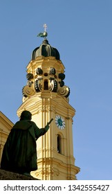 Silhouetted figure of Count of Tilly, Field Marshal of Catholic League and responsible for slaughter of 20000 children in sack of Magdeburg, looks towards the Theatine Church of St Cajetan, Munchen