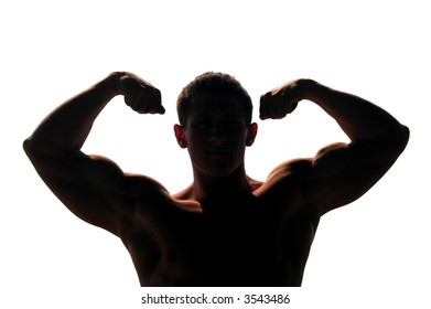 Silhouetted muscular man showing his biceps isolated on white