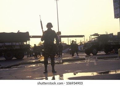 Silhouetted National Guard during 1992 riots, South Central Los Angeles, California