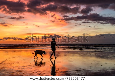 A silhouetted person walking their dog on the beach during a beautiful sunset at Seminyak, Bali, Indonesia.