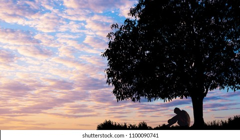 Silhouetted photo. Lonely man  sitting under big tree. He is unhappy and sad. He is watching the evening glow. Photo concept for Silhouetted and depression.