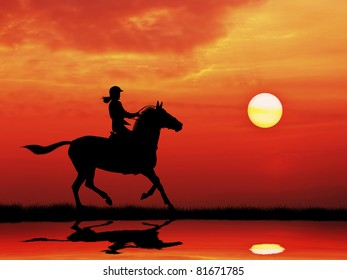 silhouetted woman jockey riding horse running on meadow  at sunrise
