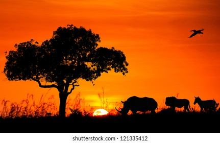 Silhouettes of African animals against the sunset