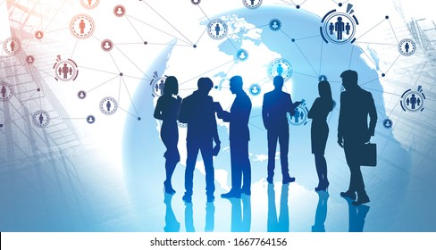Silhouettes of business people in abstract city with double exposure of planet and HR icons. Concept of recruitment and job search in global world. Toned image. Elements furnished by NASA
