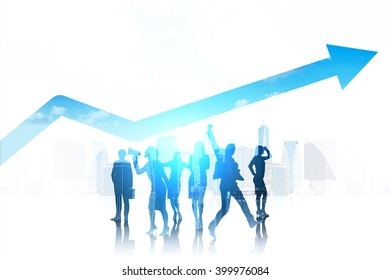 Silhouettes of business people, blue arrow over them. White background with New York cityscape. Concept of team work.