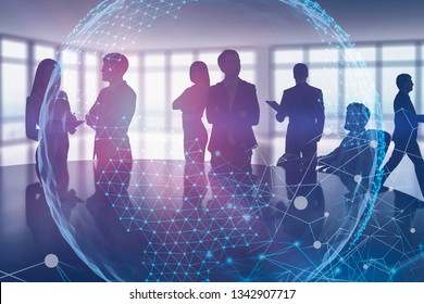 Silhouettes of business people in blurred meeting room with global world hologram and digital interface. Toned image double exposure