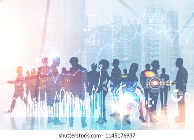 Silhouettes of business people communicating a against a modern city background. HUD and immersive interface with graphs in the foreground. Concept of corporate life. Toned image double exposure