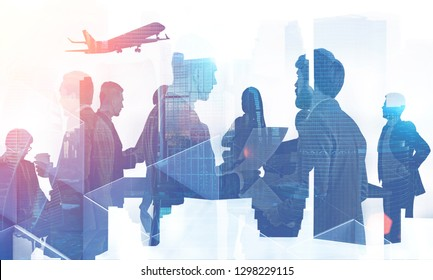Silhouettes of business people communicating over cityscape background with taking off plane. Concept of international company. Toned image double exposure