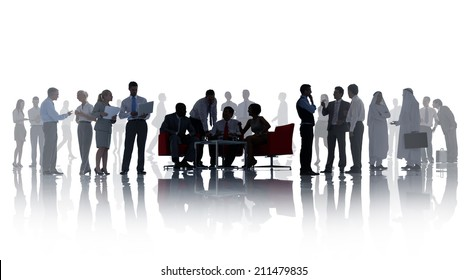 Silhouettes of Business People with Different Activities