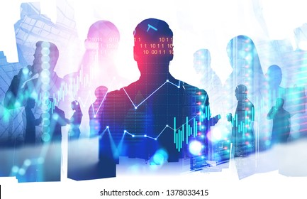Silhouettes of business people with double exposure of server room and digital graphs. Concept of hi tech corporation. Toned image