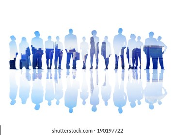 Silhouettes of Business People Facing a Cityscape
