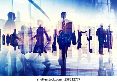 Silhouettes of Business People in an Office Building Concept