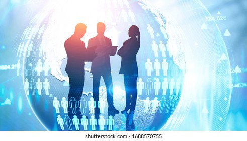 Silhouettes of business people over planet hologram with double exposure of blurry network interface. Concept of internet and business connection. Toned image. Elements of this image furnished by NASA
