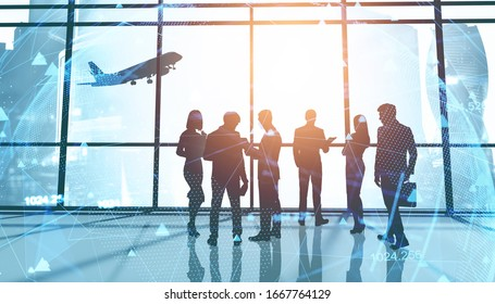 Silhouettes of business people in panoramic office with double exposure of blurry network interface. Concept of business meeting and internet. Toned image
