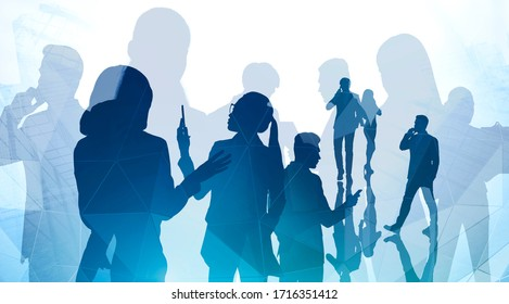 Silhouettes of business people using smartphones in abstract city. Concept of teamwork and communication. Toned image