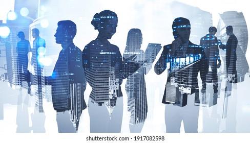Silhouetten von Geschäftsleuten, die im Firmenbüro in der Innenstadt arbeiten. Arbeiten Sie hart und Business Development Konzept. Doppelbelichtung