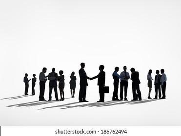 Silhouettes of Business People Working Isolated on White