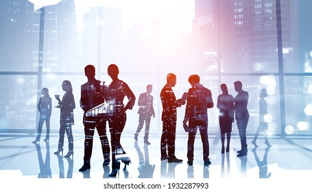 Silhouettes of business people working and rushing in corporate international consultancy office. Work hard and gain exceptional results for clients. Business development concept. Double exposure
