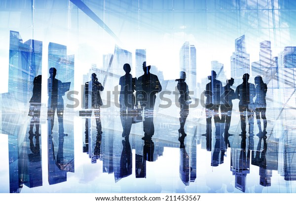 Silhouettes of Business People's Busy Day