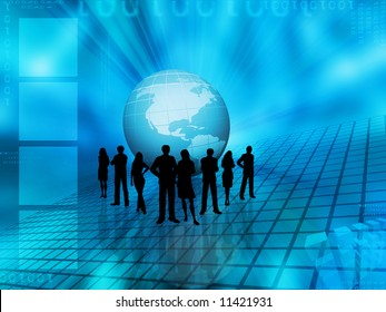 Silhouettes of a business team on an abstract globe background