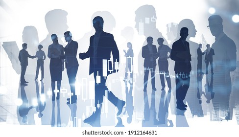 Silhouettes of businesspeople working and researching the analytics to predict stock market behaviour. Forex chart on background. Double exposure - Shutterstock ID 1912164631