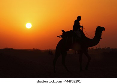 Silhouettes of a camel and a camel man in the sunset