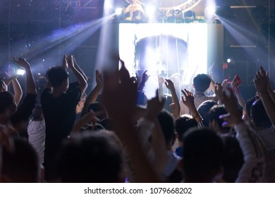 silhouettes of concert crowd in front of bright stage lights in China