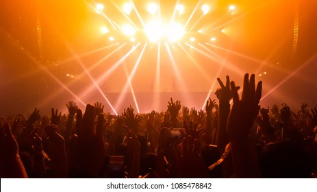 Silhouettes of concert crowd in front of bright stage lights. Nightlife and concert party concept.
