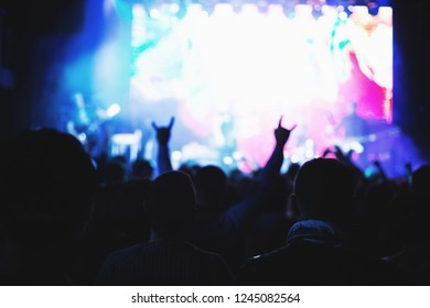 Silhouettes of a concert crowd in front of an illuminated stage in a nightclub.