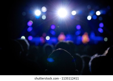 Silhouettes of concert fans in front of bright scene lights