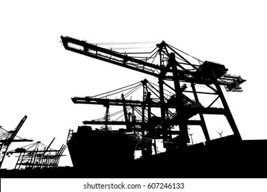 Silhouettes of cranes at a container terminal isolated on white background.