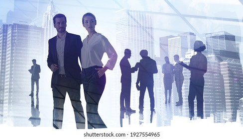 Silhouettes of diverse business people, double exposure of office interior and buildings. Concept of internet connection and teamwork. Toned image