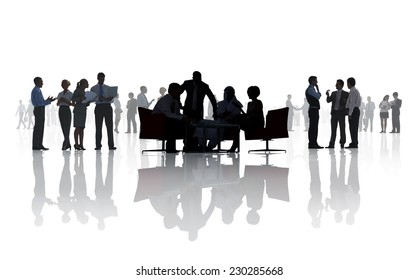 Silhouettes of Diverse Business People Working