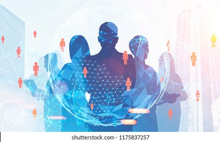 Silhouettes of diverse business team members standing together. Cityscape, hr peopel network and earth. Global world concept. Toned image double exposure Elements of this image furnished by NASA