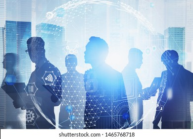 Silhouettes of diverse businessmen in city with double exposure of digital global business HUD interface. Concept of hi tech and globalization. Toned image double exposure blurred