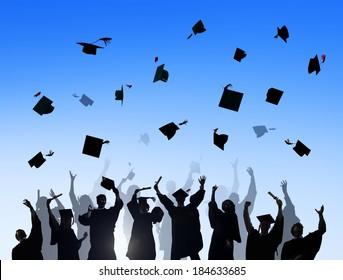 Silhouettes of Diverse International Students Celebrating Graduation