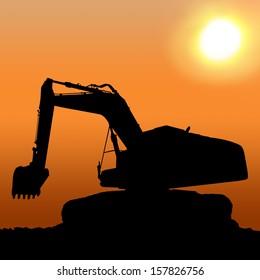 Silhouettes of Excavator