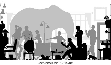 Silhouettes of a family gathering in a living room with an elephant in the background