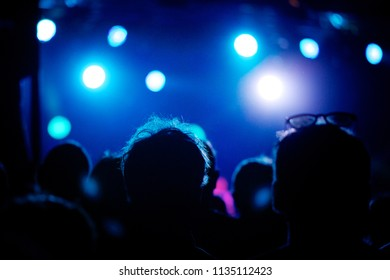Silhouettes of fans in front of bright blue scene lights