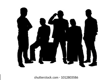 Silhouettes of five businessman isolated on  white background