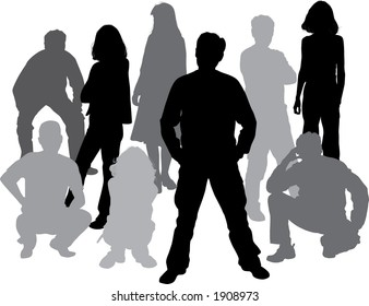 Silhouettes friends (man and women), illustration