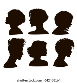 Silhouettes of girls short hairstyles.