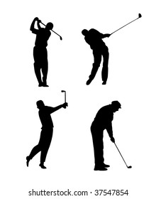 Silhouettes of a golfer black & white