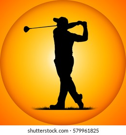 silhouettes golfers with sunset background
